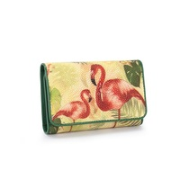 Flamingo Pattern Women's Card Purse Authentic Stingray Skin Lady Coin Pocket Wallet Genuine Exotic Leather Female Small Clutch