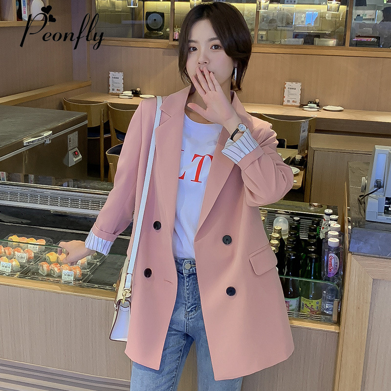 PEONFLY Fashion Double Breasted Solid Color Women Blazer Pockets Jackets Female Retro Suits Coat Feminino Blazers Outerwear Pink