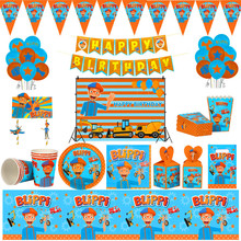 Party Tablecloth Straws Balloons Blippi Plate Flags Paper-Cup Decor Theme-Happy-Birthday