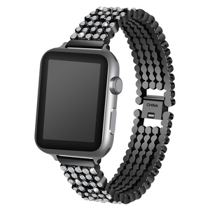Image 2 - Crystal Diamond strap for Apple Watch band 38mm 42mm 40mm 44mm SE stainless steel Replacement Bands for iWatch series 6 5 4 3 2