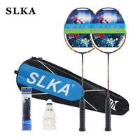 SLKA 1 Pair Professional Japanese Carbon Badminton Racket Strung High Tension Power Attack Men's Badminton Racquet Set 32LBS 87g