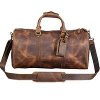 THINKTHENDO Travel Shoes Compartment Genuine LeatherShoulder Bag Handbag Crossbody Gym Tote