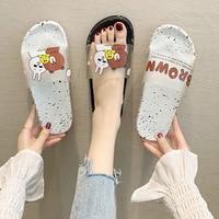 Femmes pantoufles dessin animé ours mignon Animal maison pantoufles d'été sandales plage diapositives femmes chaussures tongs Zapatillas Mujer