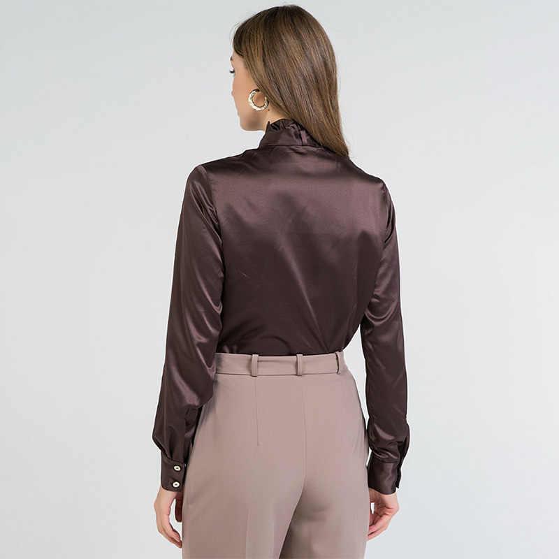 بلوزة النساء مكتب سيدة القوس ضمادة طويلة الأكمام س الرقبة الصلبة أنيقة قميص غير رسمي 2020 أوائل الربيع موضة جديدة المرأة بلوزة