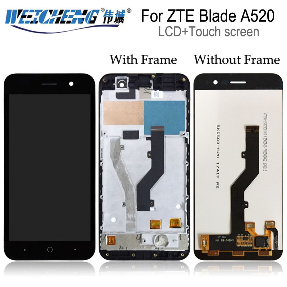 WEICHENG TOP Quality For <font><b>ZTE</b></font> <font><b>Blade</b></font> <font><b>A520</b></font> LCD Display +Touch <font><b>Screen</b></font> Assembly with frame For <font><b>zte</b></font> <font><b>a520</b></font> lcd+free tools image