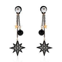 NJ Cool Black Starfish Shape Drop Earrings Modern Fashion For Woman Girls Party Prom Jewelry Best Friend Gift