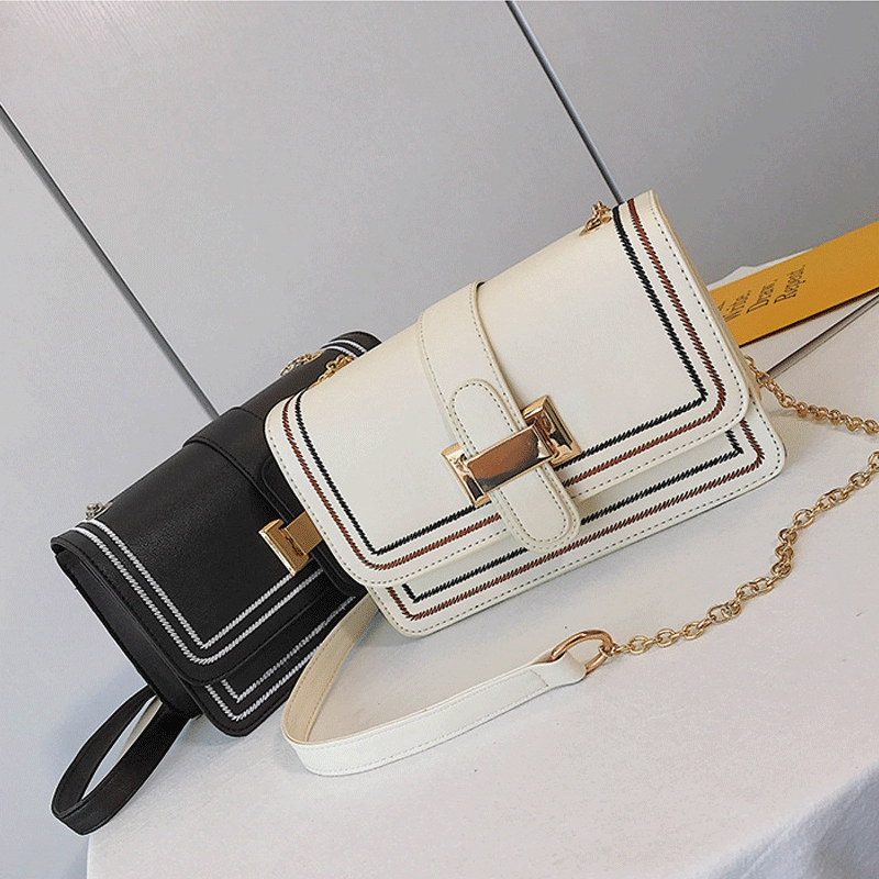 Fashion Women's Small PU Leather Purse Bag With Chain Shoulder Strap Buckle Coin Purses Wallets
