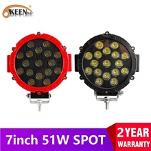 OKEEN 7 inch LED Light Bar 51W Round LED Work Light Spot Beam 4x4 Off Road Driving Light Fog Lights For Truck Tractor Car Boat