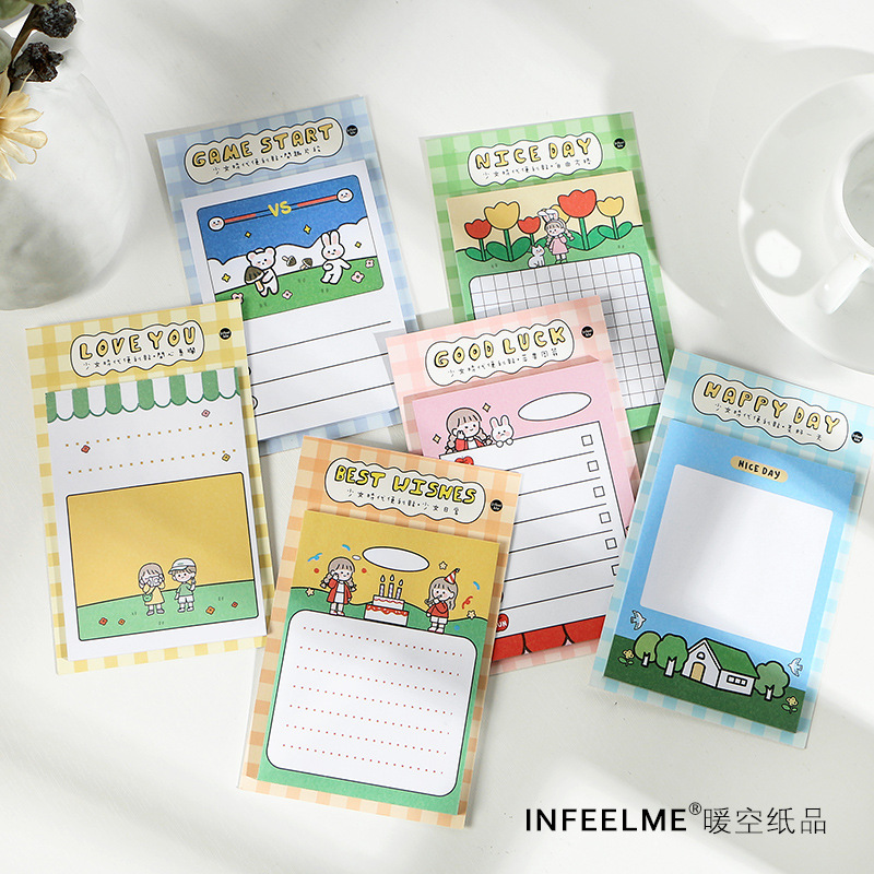 1set/lot Memo Pads Sticky Notes Salt Girl Paper Diary Scrapbooking Stickers Office School Stationery Notepad