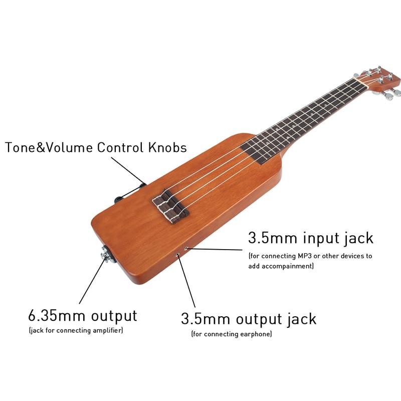 Naomi naturel 23 pouces okoumé électrique ukulélé Uke Kit avec Gig sac 3.5Mm câble Audio silencieux électrique ukulélé Concert Uke - 2