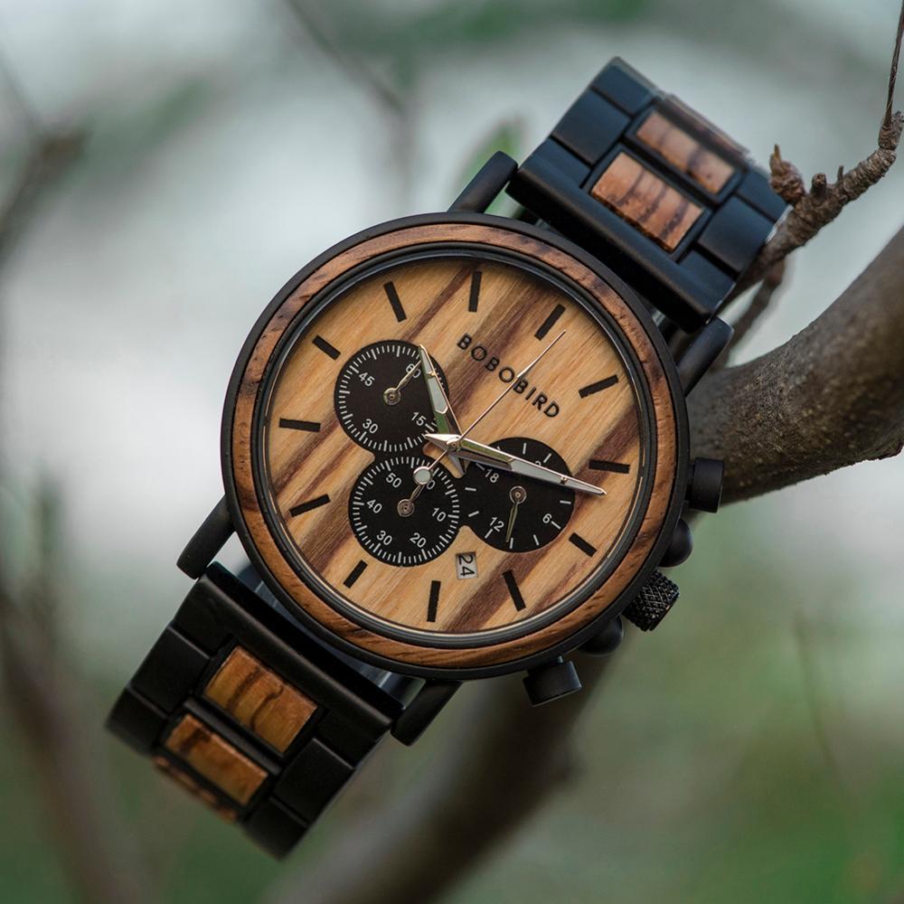 BOBO BIRD Wooden Watch Men erkek kol saati Luxury Stylish Wood Timepieces Chronograph Military Quartz Watches in Wood Gift Box 5