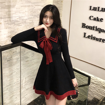 Women Spring and Autumn Dress Bow New Knitted Temperament Mini A-line Sexy Sweet Long Sleeve GD243