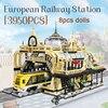 Technic Street View europa dworzec kolejowy Model miejski zestawy klocków budowlanych Moc Holiday entertainment rodzina interaktywne prezenty dla dzieci