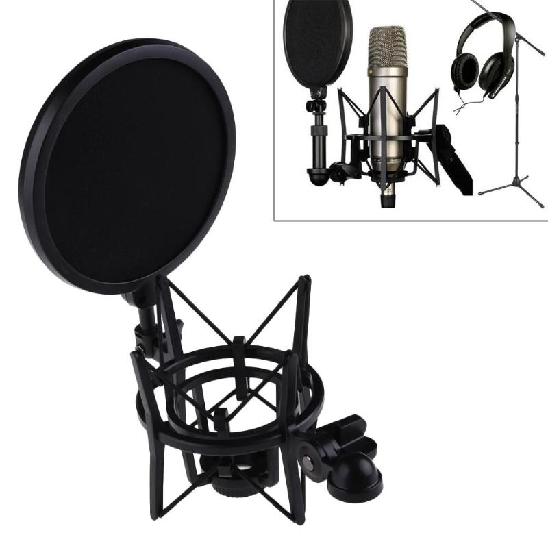 Professional Microphone Mic Shock Mount for Pop Shield Articulating Head Telescoping Height Microphone Holder Stand Bracket
