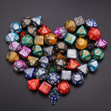7 conjunto 49pcs Cor Misturada Estilo Dice Set Dados Poliédricos 7 D4 D6 D8 2D10 D12 D20 para RPG número Board Game dungeons and Dragons(China)