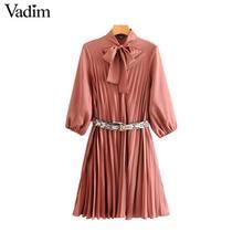 Vadim vrouwen strikje kraag jurk snake print riem ontwerp drie kwart mouw elegante vrouwelijke casual jurken vestidos QD113