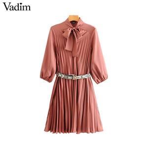 Image 1 - Vadim vrouwen strikje kraag jurk snake print riem ontwerp drie kwart mouw elegante vrouwelijke casual jurken vestidos QD113