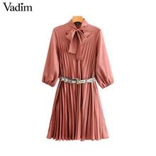 Vadim women bow tie collar dress snake print belt design three quarter sleeve elegant female casual dresses vestidos QD113