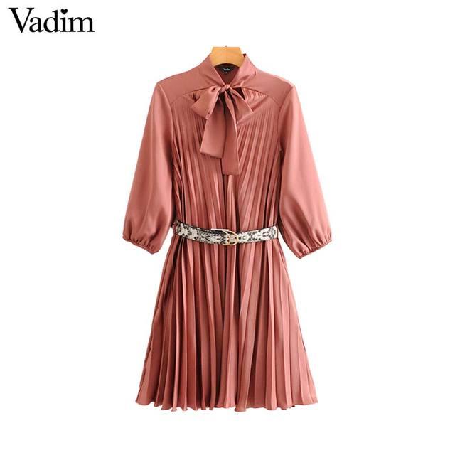 Vadim женское платье с галстуком бабочкой и воротником, змеиный принт, пояс, дизайн, рукав три четверти, элегантные женские повседневные платья, vestidos QD113