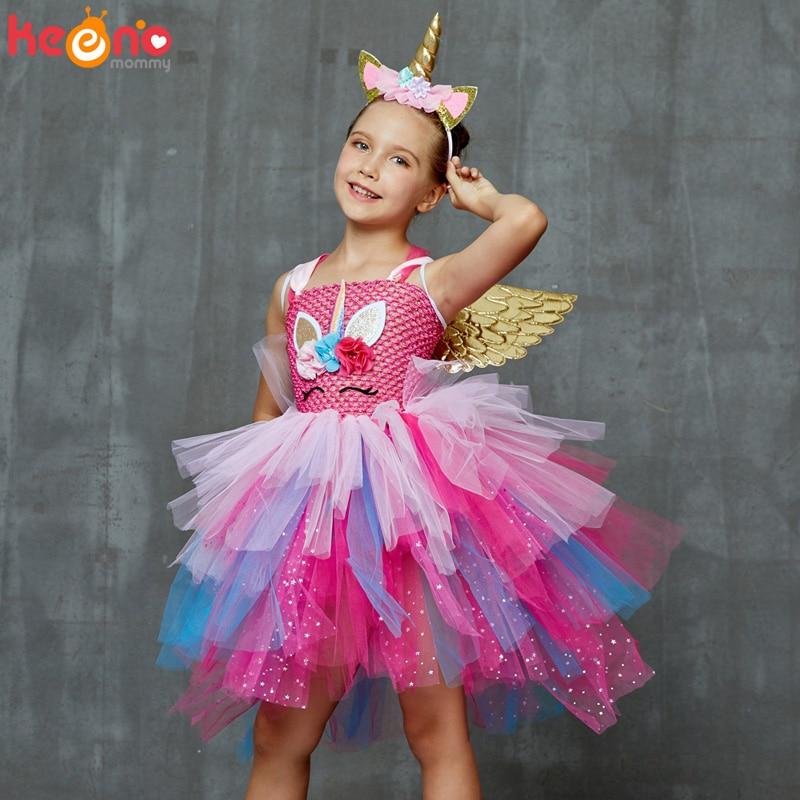 Glittery Unicorn Princess Pageant Flower Girl Tutu Dress Kids Party Costume with Headband and Wings Halloween Cosplay Girl Dress 1