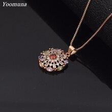 Винтажное ожерелье для женщин Модный розовый золотистый цвет, Круглый Цветок кубический цирконий камень кристалл длинный кулон чокер Новинка