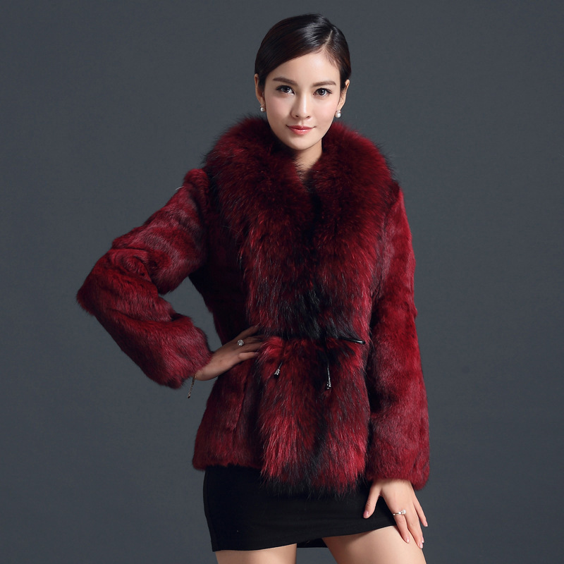 Fur Rabbit Real Coat Winter Jacket Women Clothes 2020 Raccoon Fur Collar Warm Fur Coats Plus Size Manteau Femme MY4379 S