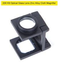 20x régua de metal dobrável escala pano lupa k9 lentes ópticas preto spray pintura bolso lupa