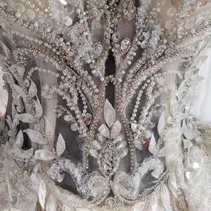 Image 5 - HTL1004 בציר חתונה שמלה עם גלימה אשליה o צוואר שרוול צעיף תחרה עד בחזרה חרוזים הכלה שמלות כלה יוקרה חלוק mariee