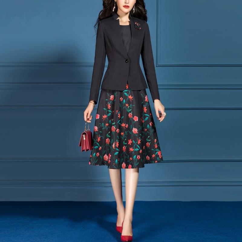 Women Suits Elegant Office Lady Formal Slim Long Sleeve Blazer Jacket Plus Size Knee Length Floral A-line Dress Two Piece Set