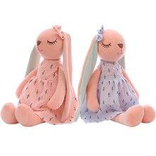 Милый мультяшный кролик с длинными ушами, кукла, детская мягкая плюшевая игрушка, детский кролик, спящий компаньон, плюшевая игрушка моллюск, кролик