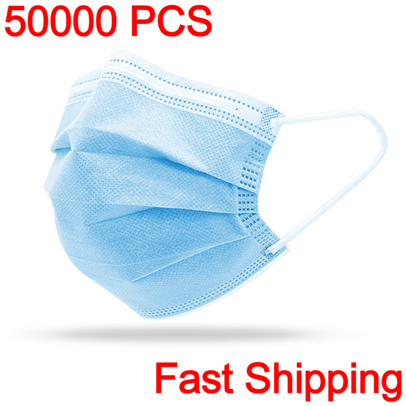 200PCS Fast Delivery 3-layer Mask Face Mouth Masks Non Woven Disposable Anti-Dust Meltblown Cloth Masks Earloops Drop Shipping