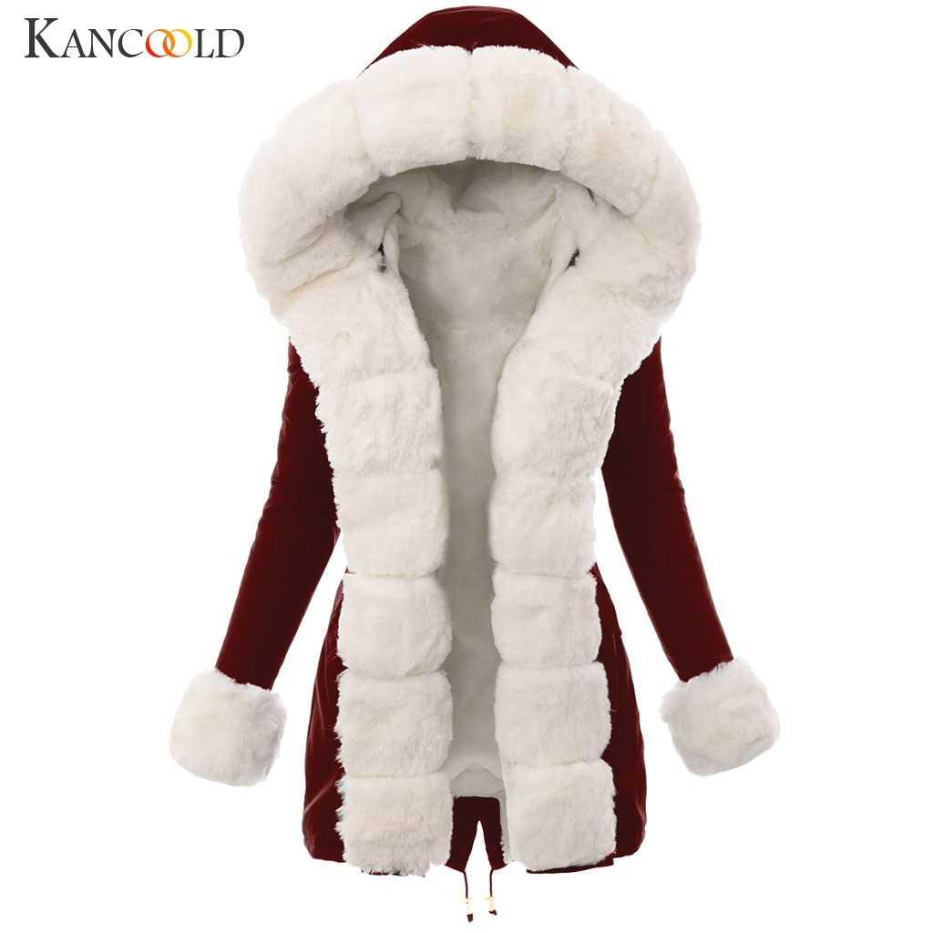 Kancoold Mantel Wanita Musim Dingin Hangat Mewah Imitasi Bulu Jaket Splicing Panjang Berkerudung Mantel Saku Fashion Baru Mantel Wanita 2019DEC4