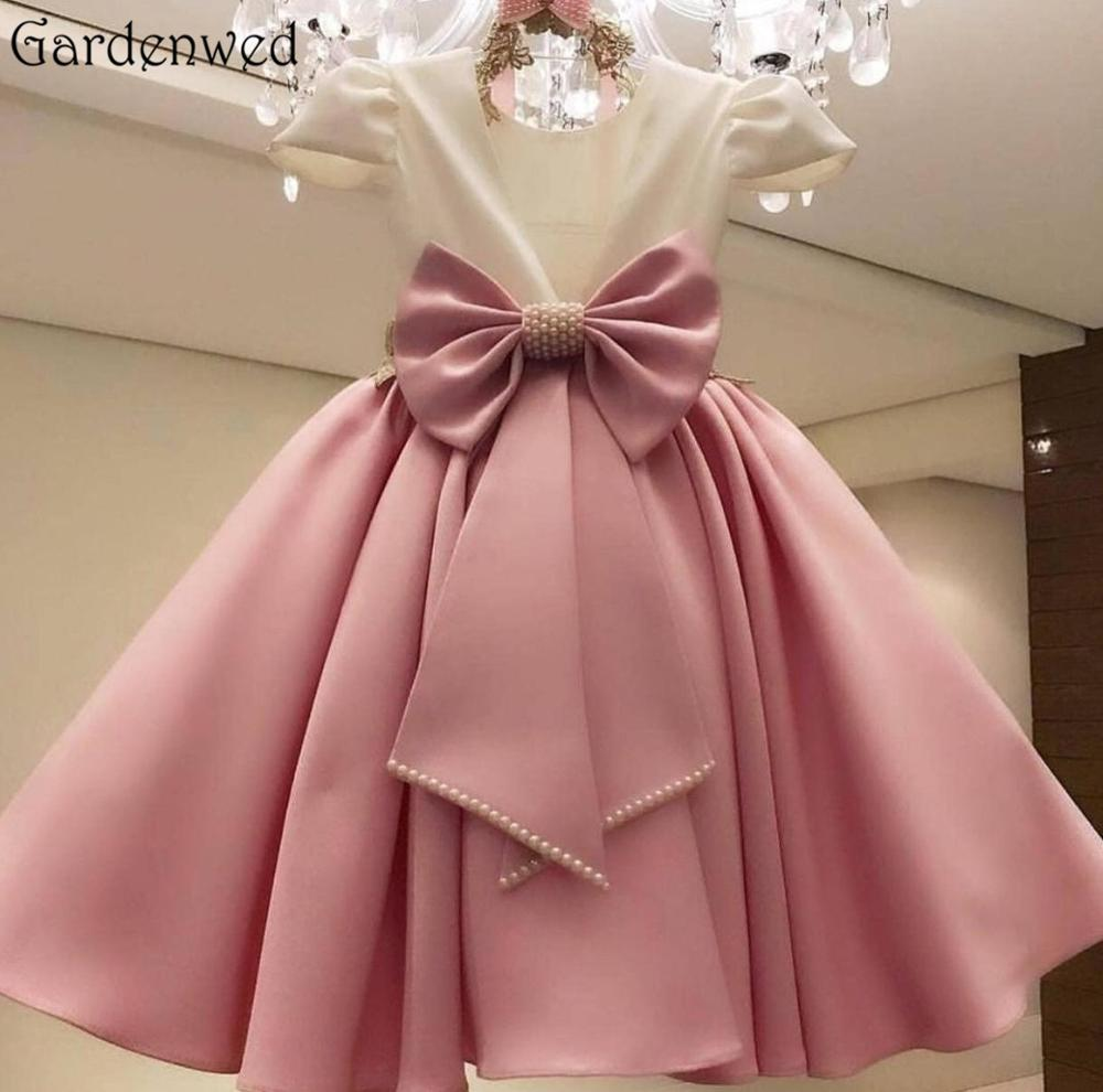 Pearls Flower Girl Dresses For Wedding Communion 2020 Sukienki Satin Bokep Blush Flower Dress Vestidos De Bowknot Vestido Flores