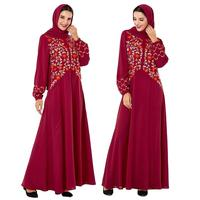 Ethnic Abaya Women Long Sleeve Maxi Dress Embroidery Kaftan Islamic Jilbab Robe Gown Vintage Arab Loose Turkish Oman Dresses New