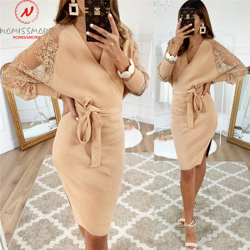 Women Autumn Dress for Streetwear Patchwork Hollow Out Design Lace Decor V-Neck Long Sleeve Backless Low Split Bandage Dress