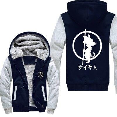 Зимние куртки и пальто Dragon Ball Z худи Аниме Сон Гоку с капюшоном Толстая молния мужские толстовки Длинный свитшот - 3