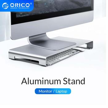 ORICO stojak na laptopa ze stopu aluminium stojak na Monitor stały stojak na komputer PC ze schowkiem na komputer mac MacBook gadżety na laptopa