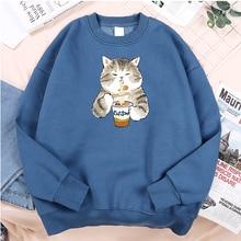 Men's Clothing Sweatshirts Oversize Kawaii Fleece Funny Famous-Brand Print No Eating-Noodles