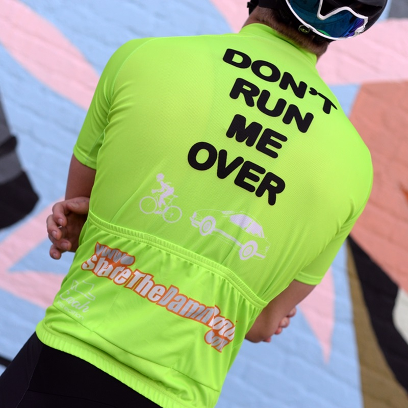 2019 New Fun text cycling jersey Men Summer short sleeve cycle clothing Pink Orange NEON GREEN Don't run me over LIMITED EDITION image