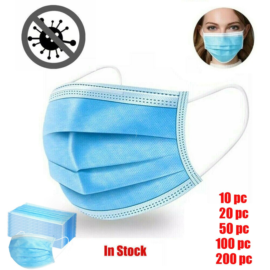 Disposable Face Mask Dust Masks Filter Protection 3 Layer Filter Non-woven Dustproof Mouth Mask Fast Delivery 10/20/50/100/200PC