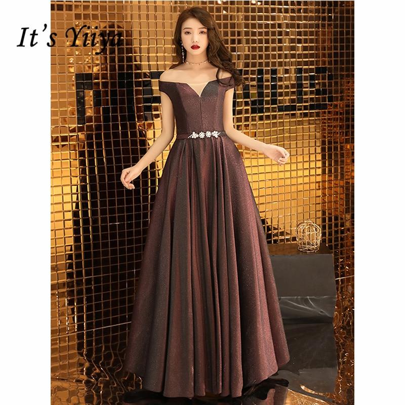 It's Yiiya Evening Dress 2019 Sequins Short Sleeve Boat Neck Party Formal Dresses Elegant Off Shoulder Robe De Soiree E1079