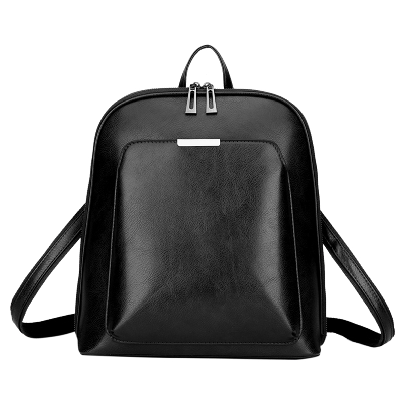 Women's Backpack High Quality PU Fashion Backpack Women Casual Large Capacity Retro Shoulder Bag Black