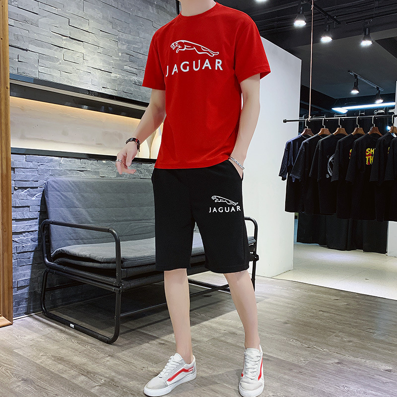 Men's 2020 Summer Sleeve+Shorts Running Fitness Short Sleeve T-Shirt Sportswear 2-Piece Set GYM Jogging Suit