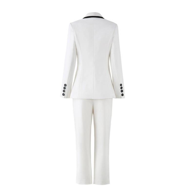 Korean Slim Fit Full Length Pants Blazer Suit Women 2 Piece Sets Elegant Office Lady White Suits Brand Design Female Clothes
