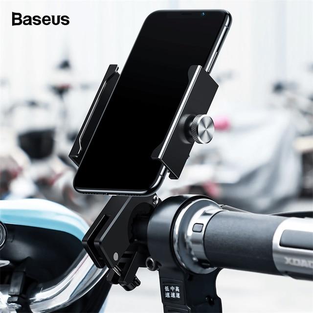 Baseus Motorcycle Bicycle Phone Holder For iPhone Samsung Bike Mobile Phone Stand Handlebar Clip Moto Mount Bracket Bike Holder