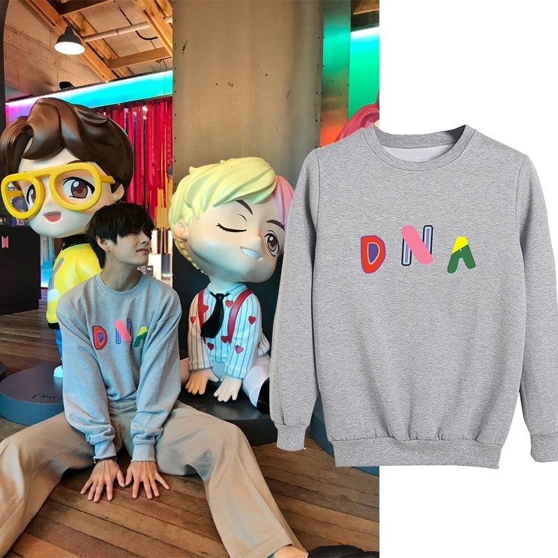 Kpop V Official Clothes Pullover Round Neck Hoodie Men Women Korean Version K-pop Jin Suga Spring Autumn Sweatshirt Pullovers