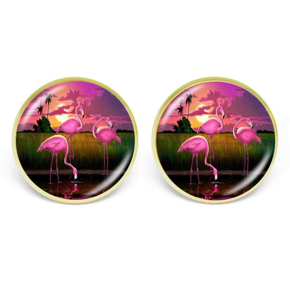 Karairis 16 Mm Bloem Flamingo Stud Oorbellen Tall Blond En Roze-Complexioned Ronde Dome Glas Voor Vrouwen Jewlery