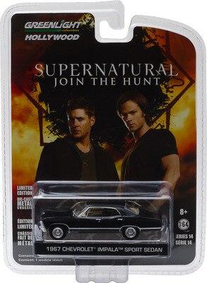 Greenlight 1:64 1967 chevrolet impala sport sedan liga de metal diecast carros modelo veículos de brinquedo para crianças menino brinquedos presente