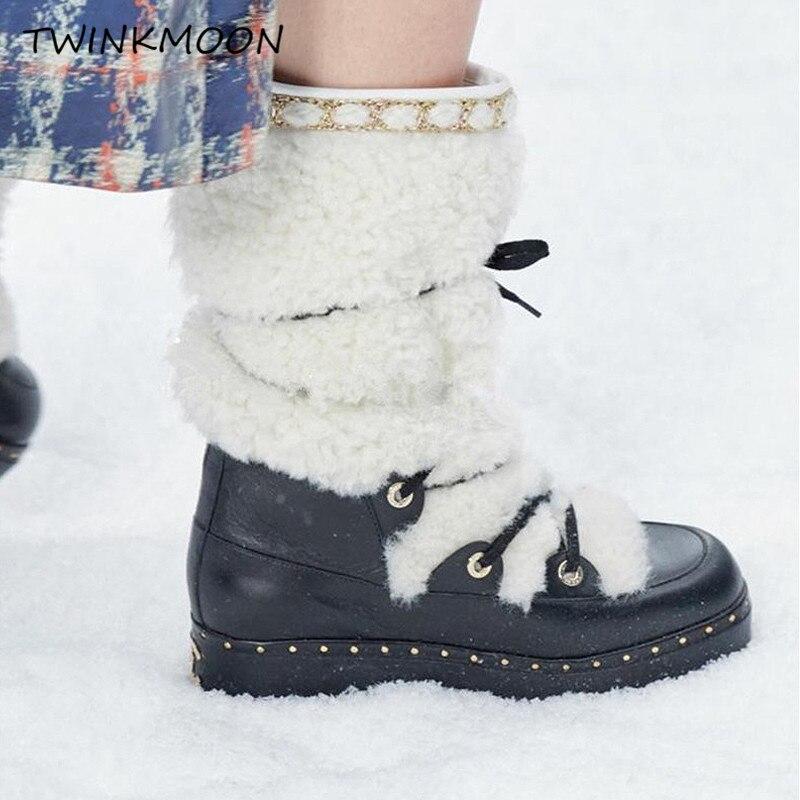 Bont Snowboots Vrouwen Winter Schoenen Flatform Lace Up Laarzen Pluche Chunky Lakleer Mid Calf Winter Laarzen Voor Vrouwen plus Size43 - 2