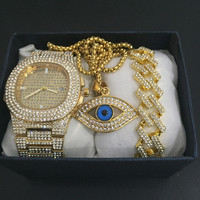 Hip Hop Men Gold Silver Watch & Necklace & Braclete Combo Set Crystal Miami Ice Out Cuban Chain Hip Hop Jewerly Set For Men